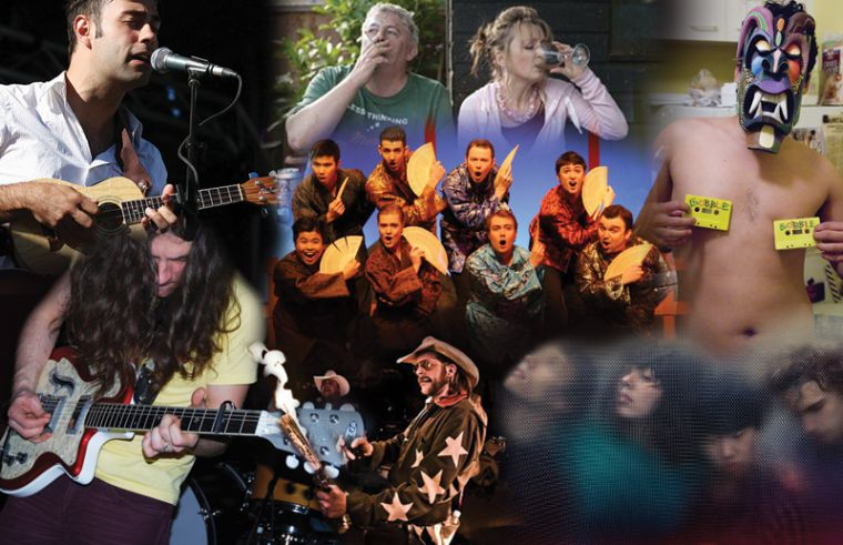 Clockwise from top left: The Acorn perform at 2010's Wolfe Island Music Festival, Ken (Peter Wight) and Mary (Leslie Manville) in Another Year, members of the cast of The Mikado, interview all-stars Gobble Gobble, Montreal's experimental texture quartet Braids, White Cowbell Oklahoma bringing the fire and Kurt Vile grinding out his trademark riffs.