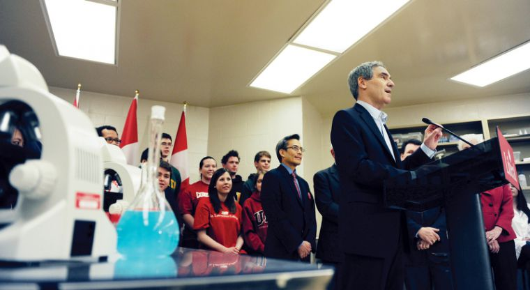 Surrounded by students and laboratory equipment, Liberal leader Michael Ignatieff makes his address at the Health Sciences Building at St. Lawrence College during his brief stop in Kingston.