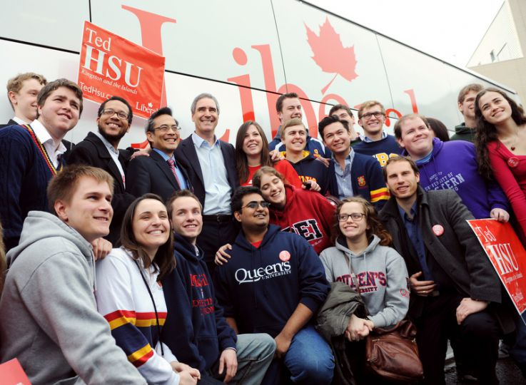 Michael Ignatieff (centre) and Ted Hsu (centre-left) are surrounded by supporters and members of the Ontario Young Liberals following Ignatieff's Monday morning address at St. Lawrence College.
