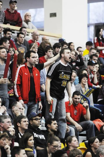 Laval fans contest a call in Sunday's championship.