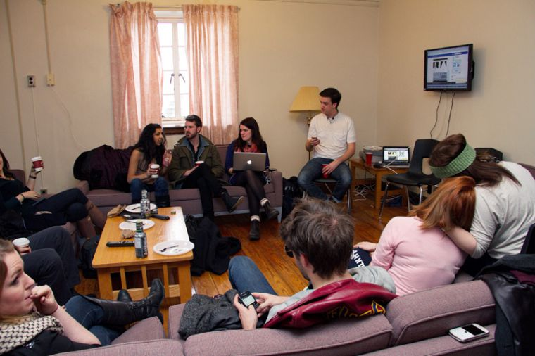 Team BGP awaiting election results in the JDUC common room on Thursday morning.