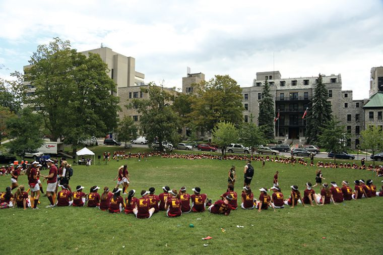 Commerce frosh congregate at Summerhill during orientation week activities.