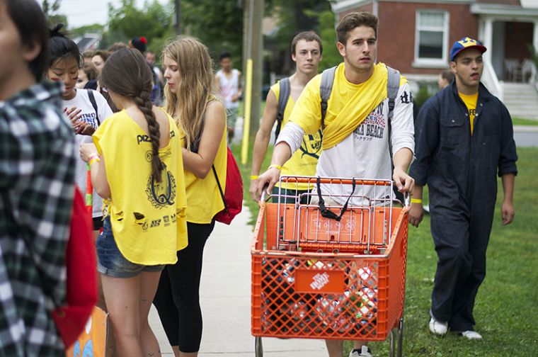 ArtSci frosh amass empties for charity during the annual Shinerama event
