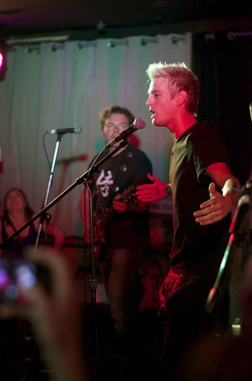 Aaron Carter takes the stage during a sold out show at The Mansion Monday night.