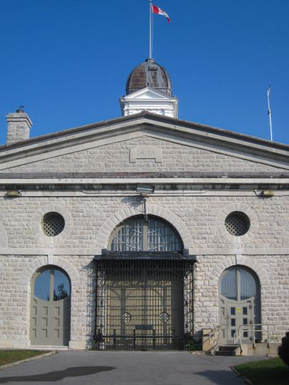 The inside of the prison's main gates.