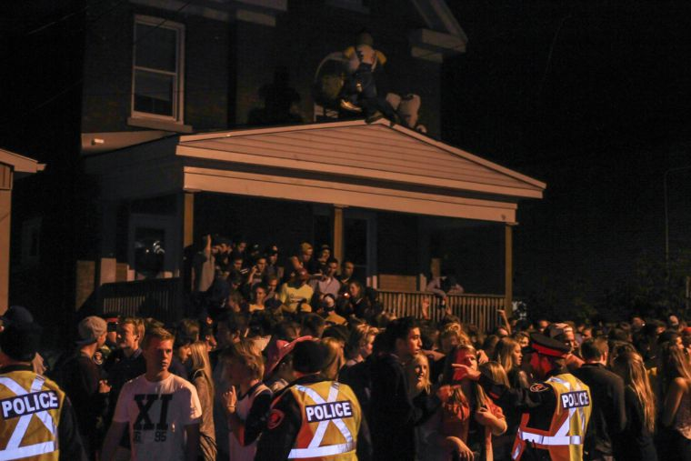 Several house parties were broken up by police throughout the night.