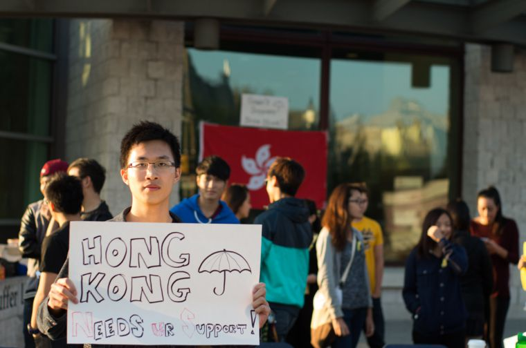 Jonathan Chan, Sci '16, joined a group of students in solidarity with recent protests in Hong Kong.