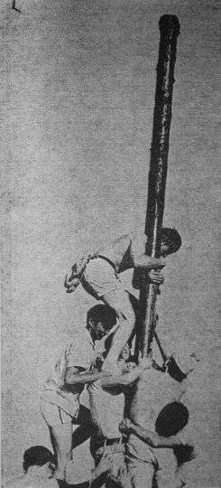 The grease pole climb in 1969.