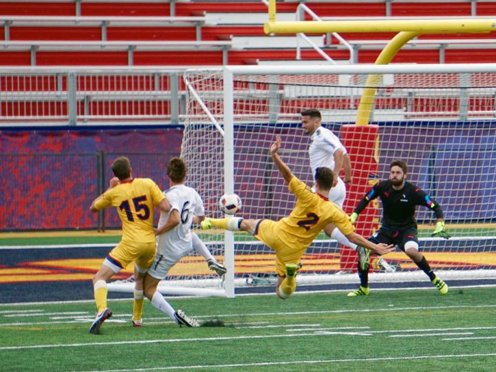 Defender Cameron Mackinnon with a chance at goal for the Gaels.