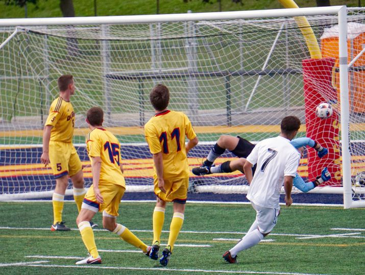 Ravens winger Dante Cobisa blasts it home off a corner kick for the visitors' first goal of the game.