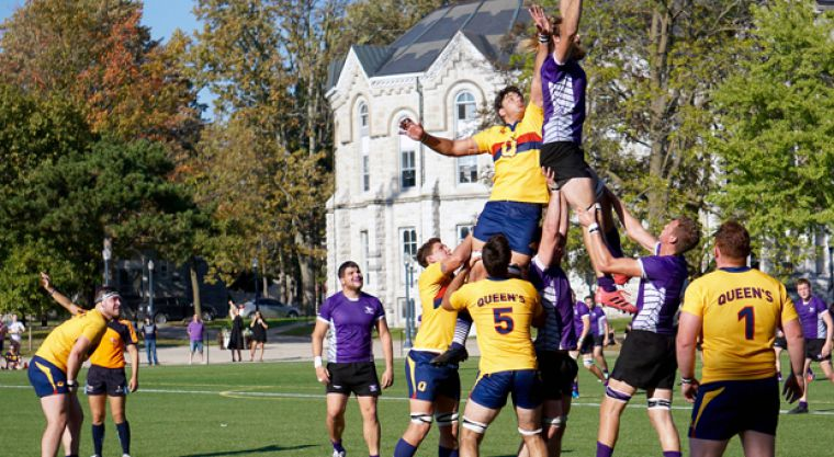 Ruse (top) tries to poach a lineout from an opposing Mustangs player.