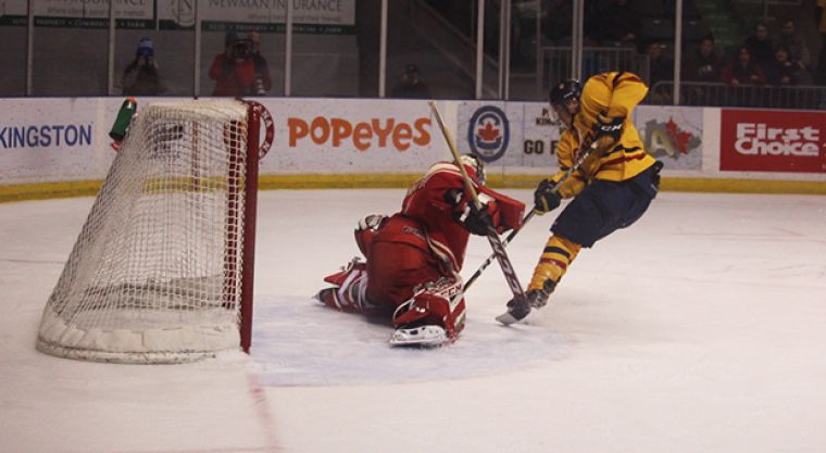 While the Gaels logged 47 shots—one of which came off a breakaway by forward Alex Row—they only got on the board once.