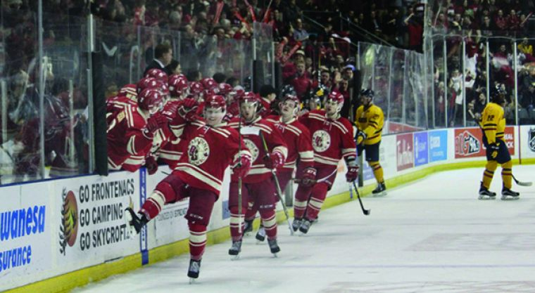 RMC celebrates their first goal of the game in front of the record crowd of 3,888.