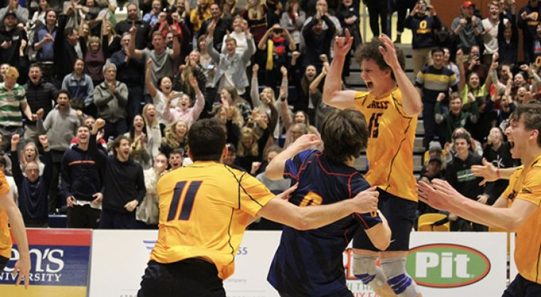 Zac Hutcheson celebrates with teammates after hitting the game-winning kill to propel the Gaels to the OUA Final Four, which Queen's will host this coming weekend.