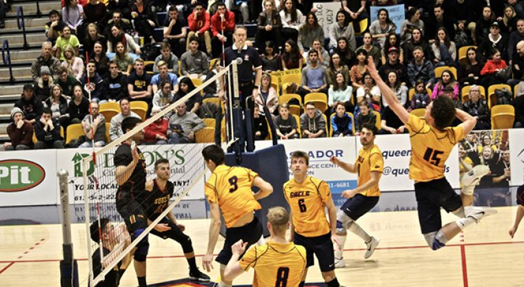 Hutcheson flies towards the ball to make a spike in front of a packed home crowd.