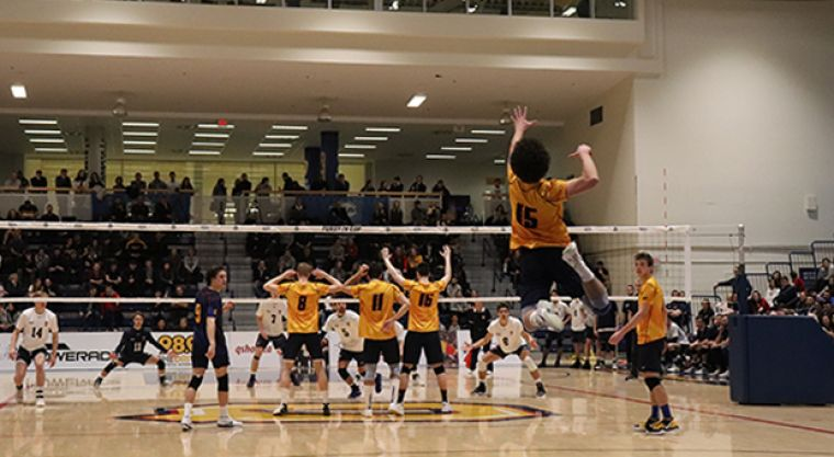 Fourth-year Zac Hutcheson serves.
