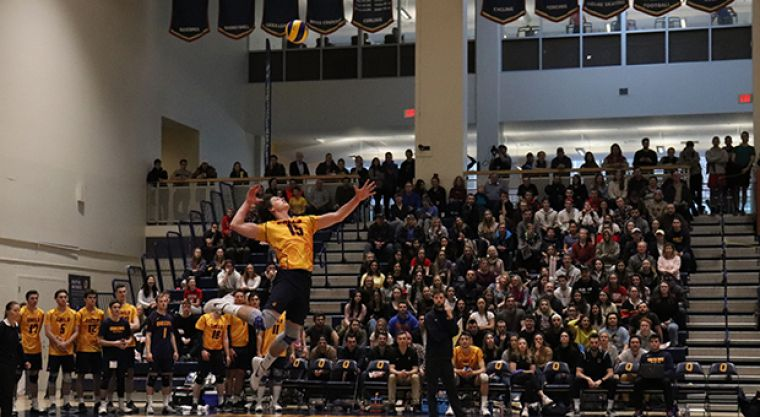 Hutcheson gets up for a serve in front of a packed home crowd.