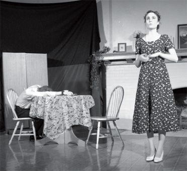 Ava McDonald as the delusional housewife Betty (right) rises to the challenge of performing most of her scenes with a corpse (Joel Babcock, left).