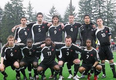 The Canadian U-20 team before the first game of the Hyundai Men's U-20 Tour, which took place March 24 in Coquitlam, B.C. The team beat Scotland 3-1.