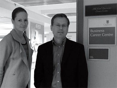 Julie Banting, left, is a career counsellor at the Business Career Centre. David edwards is its director.