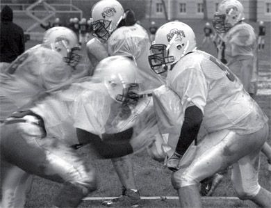 The football team practiced Wednesday in preparation for their meeting with York on the 21st.