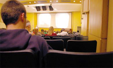 About 136 students attended yesterday's Econ110 lecture at 8:30 a.m. 317 people are registered in the course.