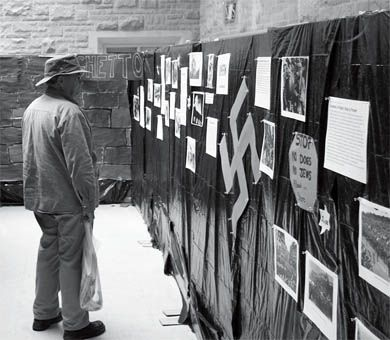 Queen's Hillel set up a Holocaust exhibit in the JDUC for the first time in order to attract students' attention and inform them about the Holocaust as part of Holocaust Education Week.