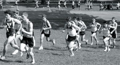 Chris Hartman, Trevor Saunders and Jeff Barr running at McGill on Sept. 16.