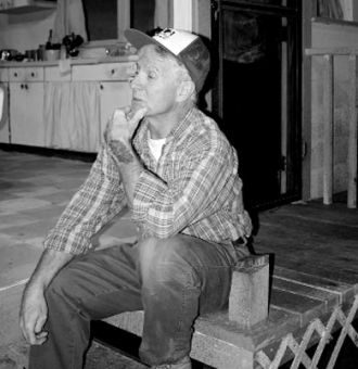 Morgan (Rick Cairns) pauses to reflect in The Drawer Boy.