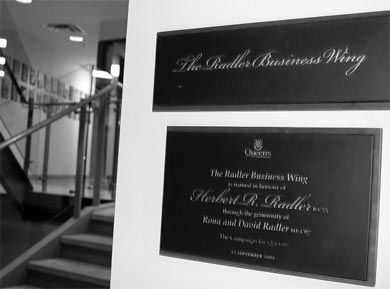 The Radler Wing Goodes Hall is named after David Radler, MBA '67. Radler has stated he plans to plead guilty to seven counts of fraud.