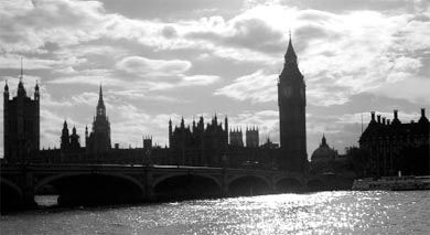 Westminster Bridge and the Parliament Buildings, the heart of the London tourist district.