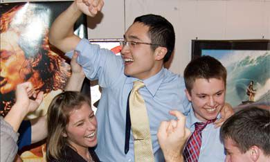 AMS executive-elect, from left: Vice-President (University Affairs) Julia Mitchell, President Kingsley Chak and Vice-President (Operations) John Manning celebrate their victory early this morning. They beat Team TPC with 52.02 per cent of the vote.