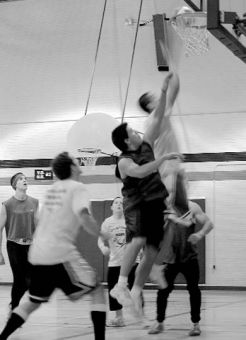BEWIC teams battle for buckets during rugby-basketball.