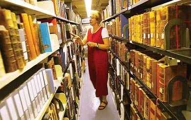 Library technician Pam Manders explores the Jordan Special Collections Library's treasures.