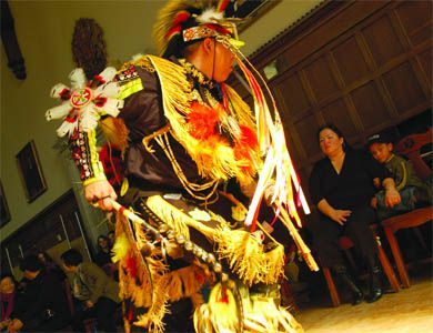 Willis Robins of the Red Spirit Dancers performs in Wallace Hall on Aboriginal Awareness Day.