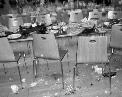 Students left Leonard Cafeteria in disarray after a food fight on April 2.