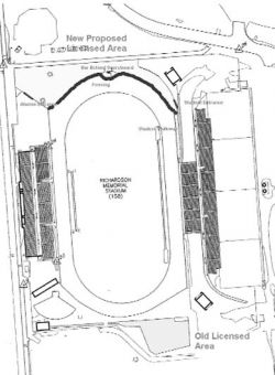 The new licensed area at all football games would be located behind the scoreboard.