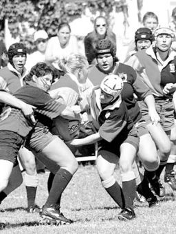 Women's ruggers struggling to move the ball against Guelph.