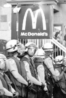 Police made sure that labour marchers didn't stop in for a Big Mac.