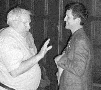 Svend Robinson speaks with a local Kingston constituent at the John Deutsch University Centre last Thursday.