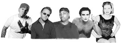 Sounding off on Napster: Fred Durst, Lars Ulrich, Chuck D, Bono, and Courtney Love.