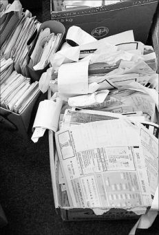 Pictured above are Clark Hall Pub's financial records, dating from about 2000 to 2007.