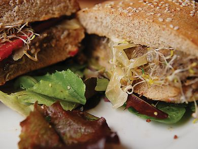 This vegan burger from The Sleepless Goat is one of the many examples of healthy and delicious meant-free options.