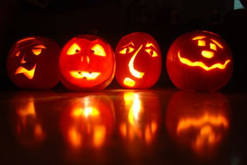 This collection of jack-o'-lanterns, made by Journal staff, are brightening up the Journal house for Halloween.