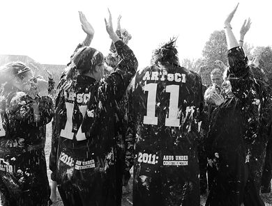 Arts and Science frosh are doused in shaving cream during Frosh Week 2007, whose went up 38 per cent this year.