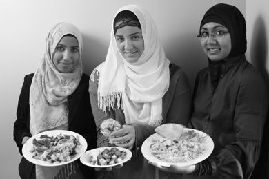 Isra Rafiq, Venera Sejdiu and Samaa Khan show off some halal-friendly fare.