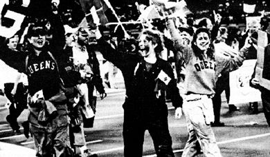 Queen's students celebrate the football team's third Vanier Cup victory in November 1992.