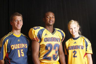 Football's Jay Oduwole (centre), women's soccer's Sara Buckham and men's soccer's Daniel McBride