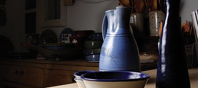 Anglin Bay studio produces handsome high-fired stoneware and porcelain pottery.