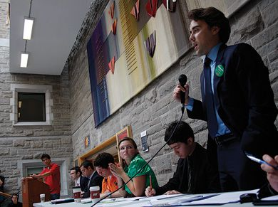 "Leaders of the student political clubs debate the issues of the upcoming federal election Wednesday night in the JDUC's Lower Ceilidh. Please refer to article ""Students tackle election issues"" in the News section for the whole story."
